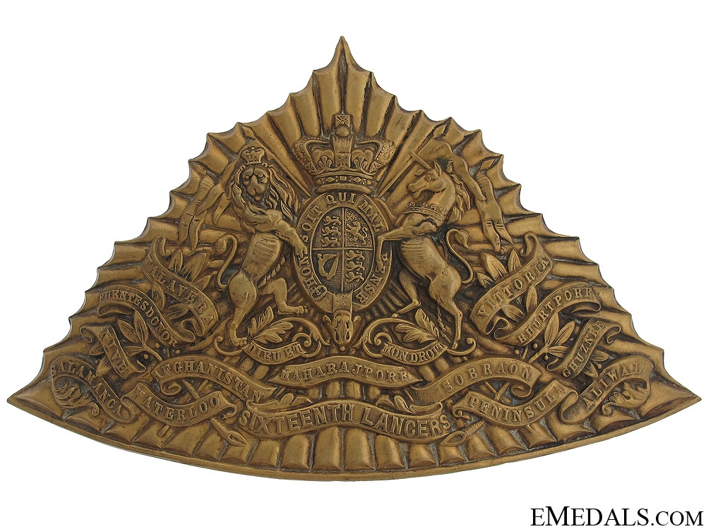 eMedals-A Victorian 16th (Queen's) Lancers Helmet Plate