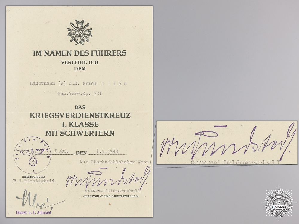 eMedals-A War Merit Cross 1st Class 1939 Document to Munitions Administration