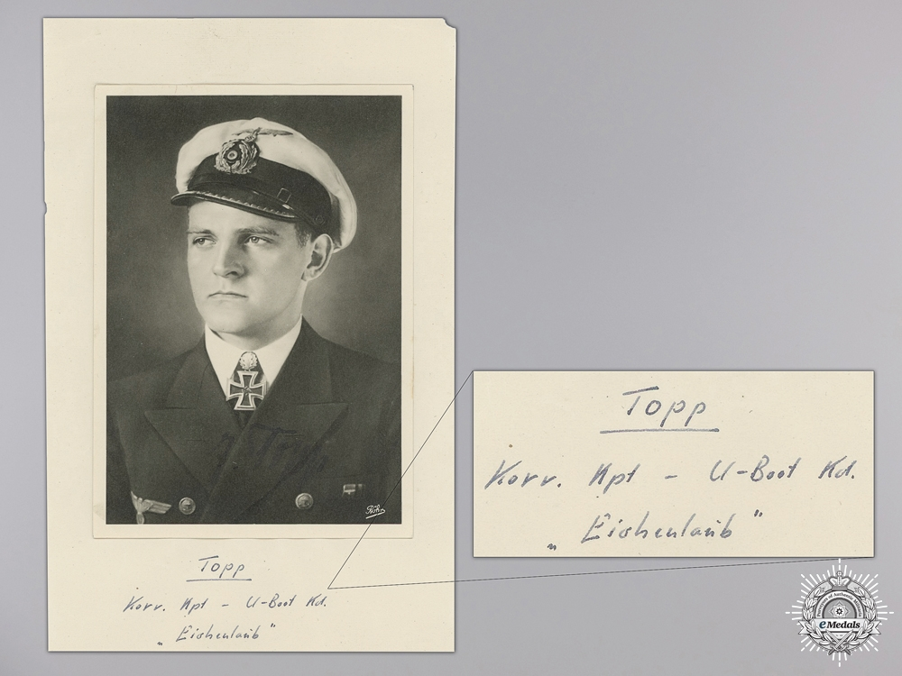 eMedals-A Wartime 1941/42 Signature of U-Boat Commander Erich Topp