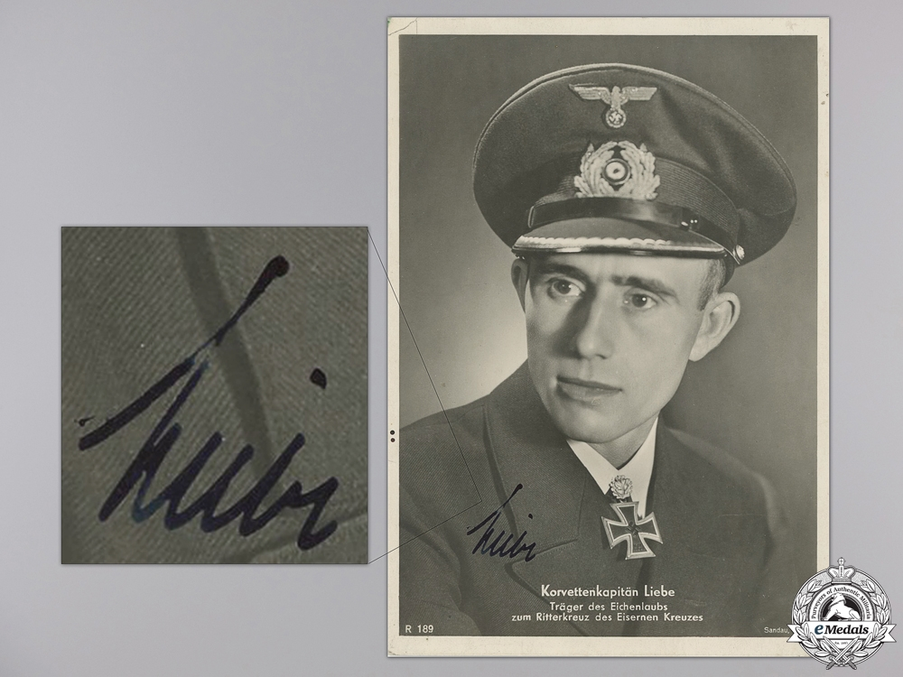eMedals-A Wartime Signed Kreigsmarine Knight's Cross Winner Photo; Liebe