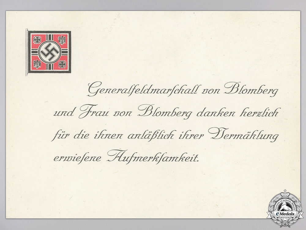 eMedals-A Wedding Attendance Thank You Card from Generalfeldmarschall Werner von Blomberg