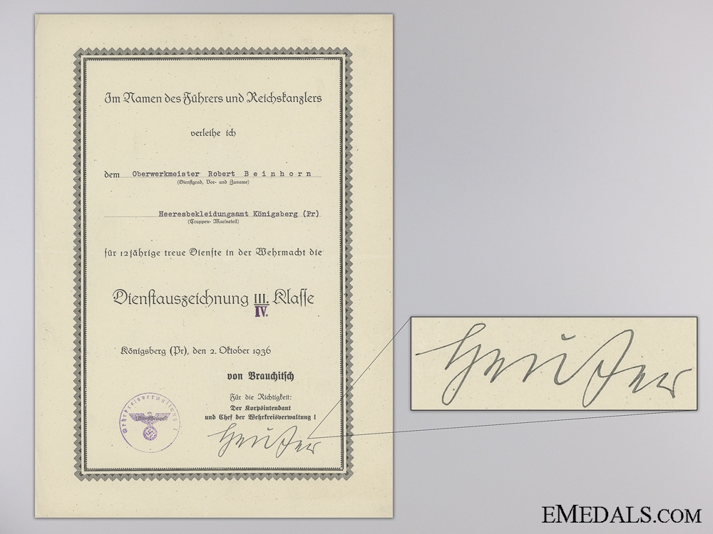 eMedals-A Wehrmacht the Long Service Award 3rd Class to the Army Uniform Office