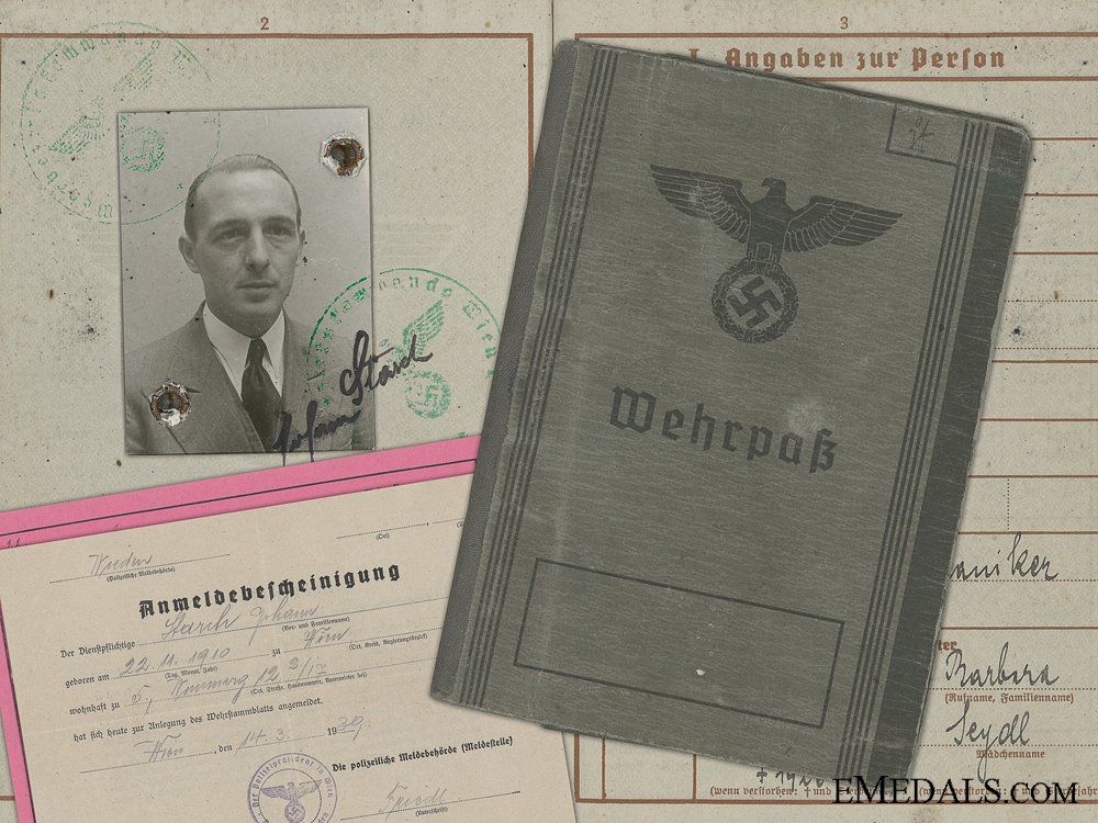 eMedals-A Wehrpass and Documents to the Austrian Johann Starch