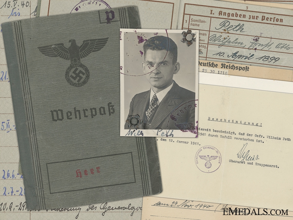eMedals-A Wehrpass and Documents to the 353 Regiment; 1940 Accident
