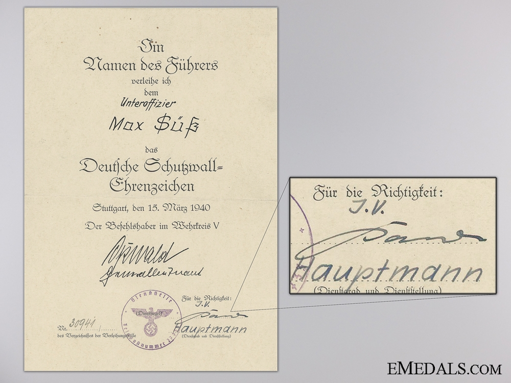 eMedals-A West Wall Award Document 1940