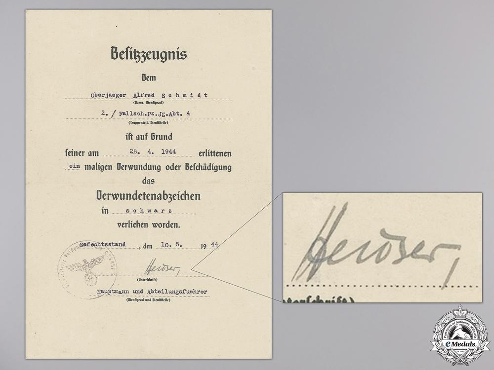 eMedals-A Wound Badge Award Document to 4th Batt. Fallschirmjäger