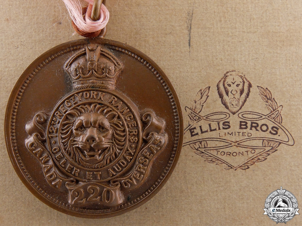 "eMedals-A WWI 220th Infantry Battalion ""York Rangers"" Award Medal"