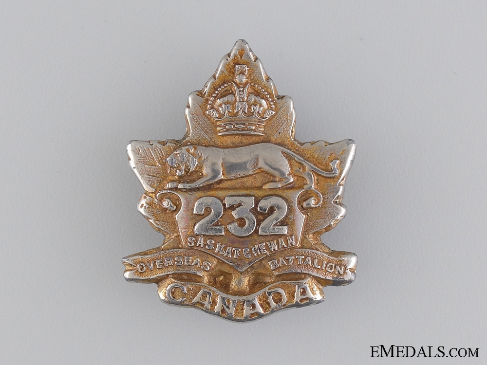 eMedals-A WWI 232nd Infantry Battalion Officer's Cap Badge