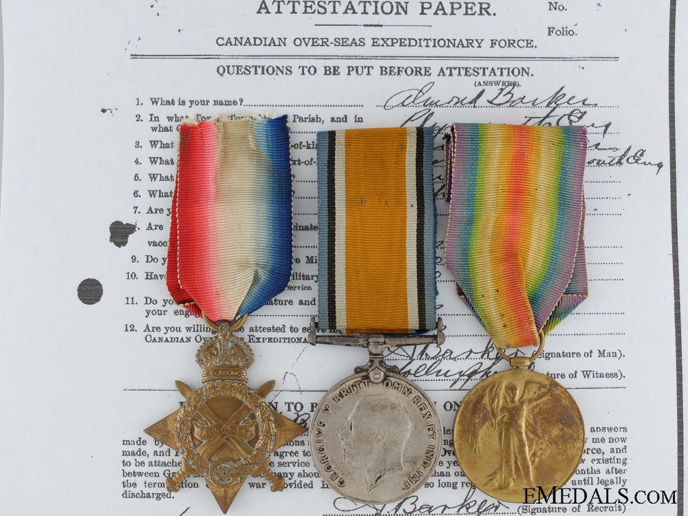 eMedals-A First War Canadian Trio to Meritorious Service Medal Recipient