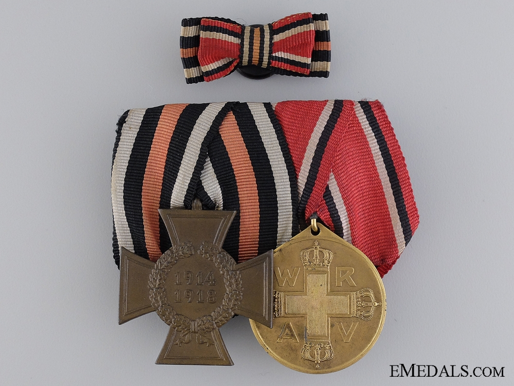 eMedals-A WWI Prussian Red Cross Veteran's Medal Pair