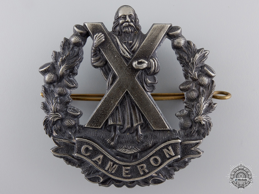 eMedals-A WWI Queen's Own Cameron Highlanders Officer's Glengarry Badge  consignment 27