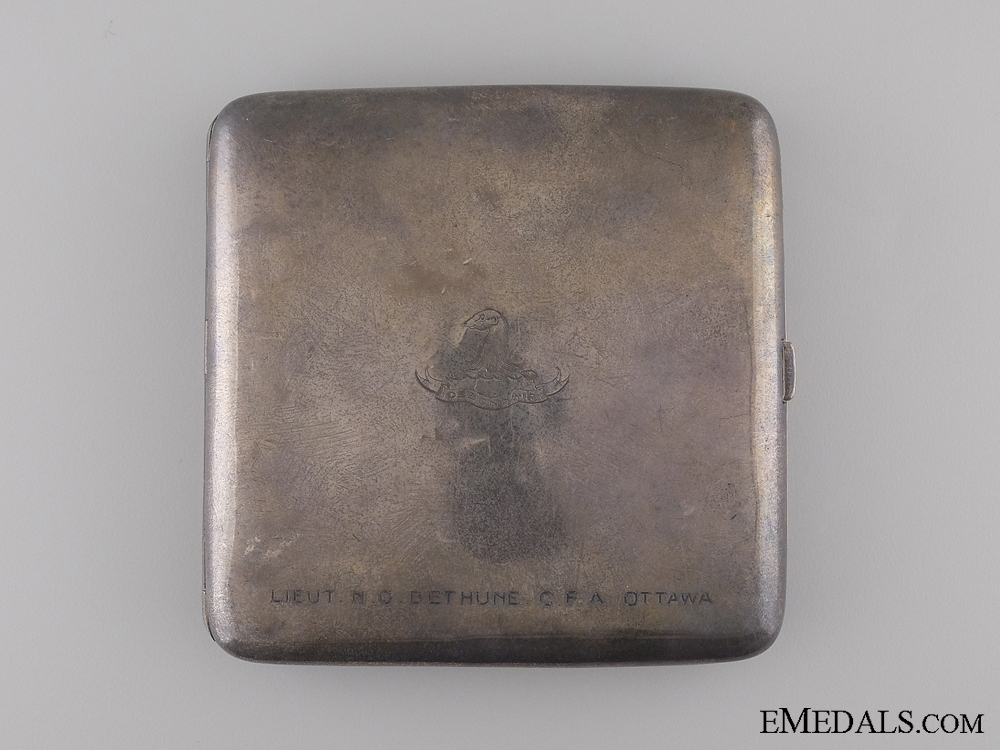 eMedals-A WWI Silver Case to Lieut. Bethune; Canadian Field Artillery
