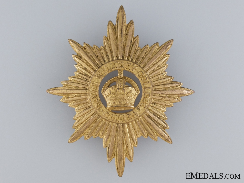 eMedals-A WWII Royal Military College Pith Helmet Cap Badge