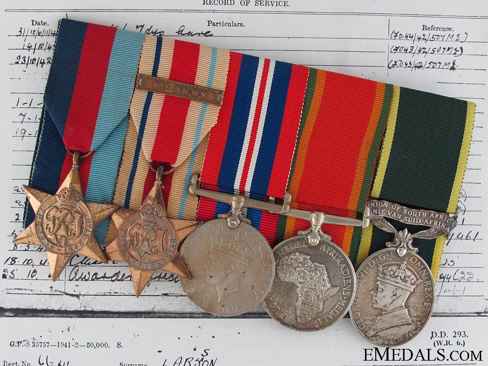 eMedals-A WWII South African Group to Q Services Corps