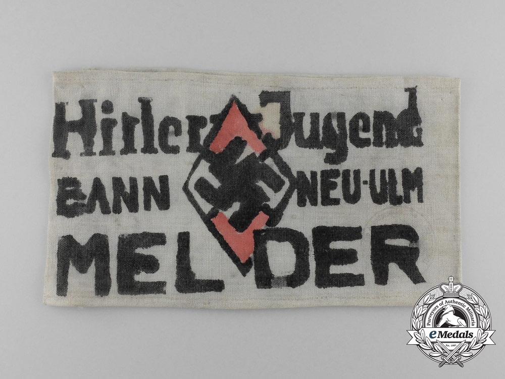 eMedals-An Early Handcrafted HJ Bann Neu-Ulm Messenger's Armband; Named to Karl Tauber