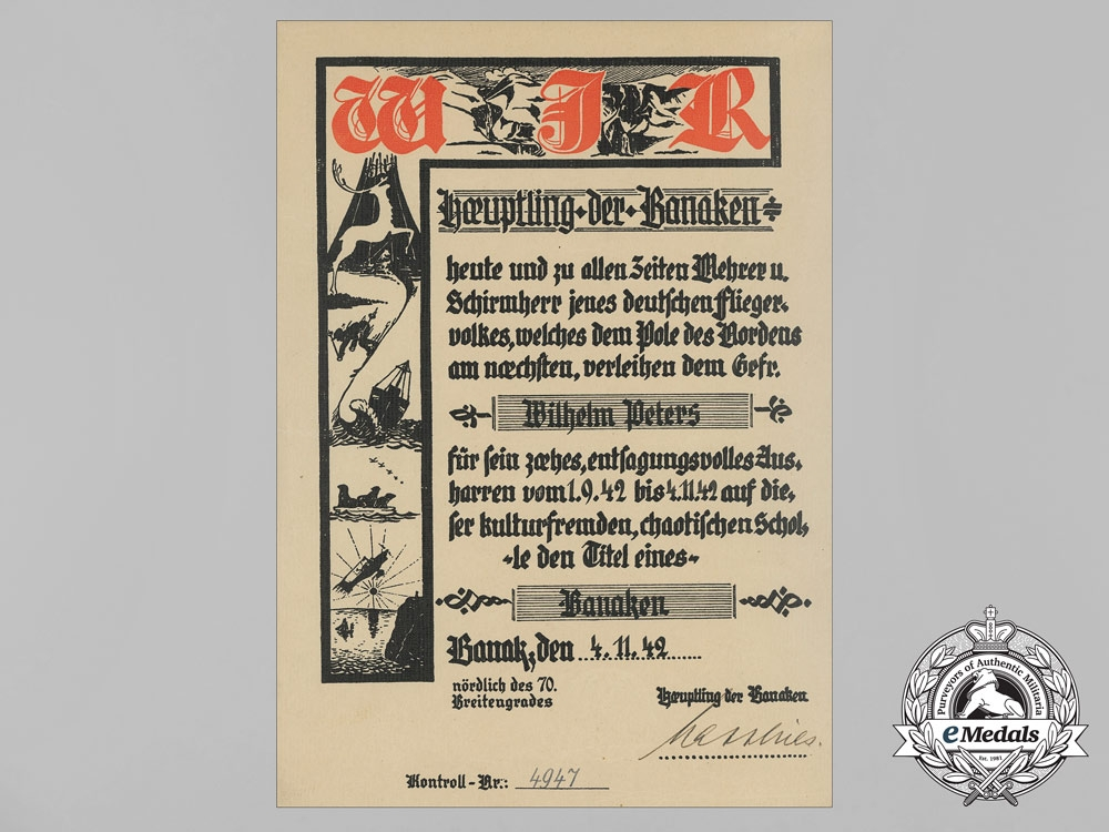 eMedals- A Luftwaffe Honour Document from Banak Airfield, Occupied Norway