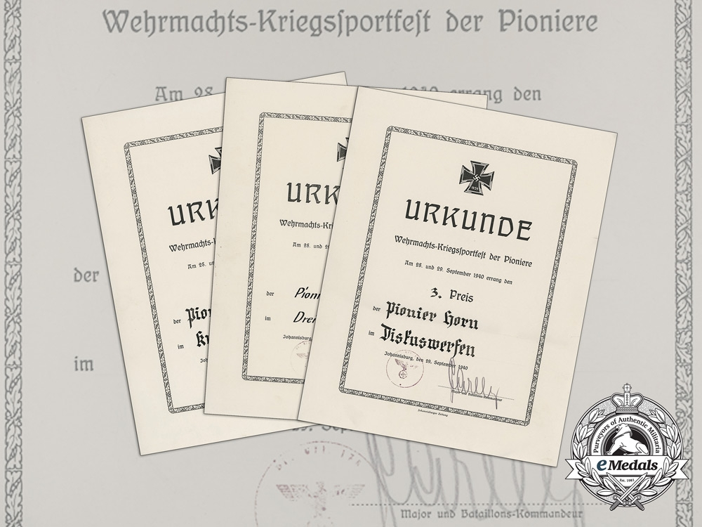 eMedals-A Grouping of Three Wehrmacht Wartime Sports Festival Award Documents to Pioneer Horn