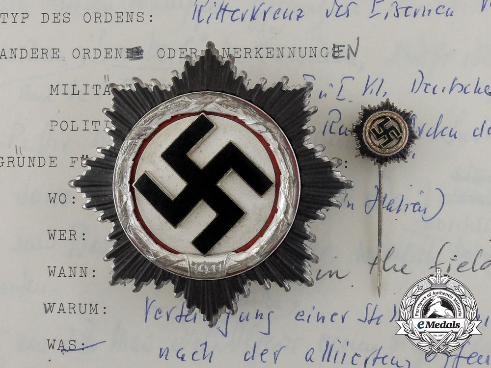 eMedals-A Mint German Cross in Silver by Deschler; With Signed Fact Sheet of Recipient General Haulk