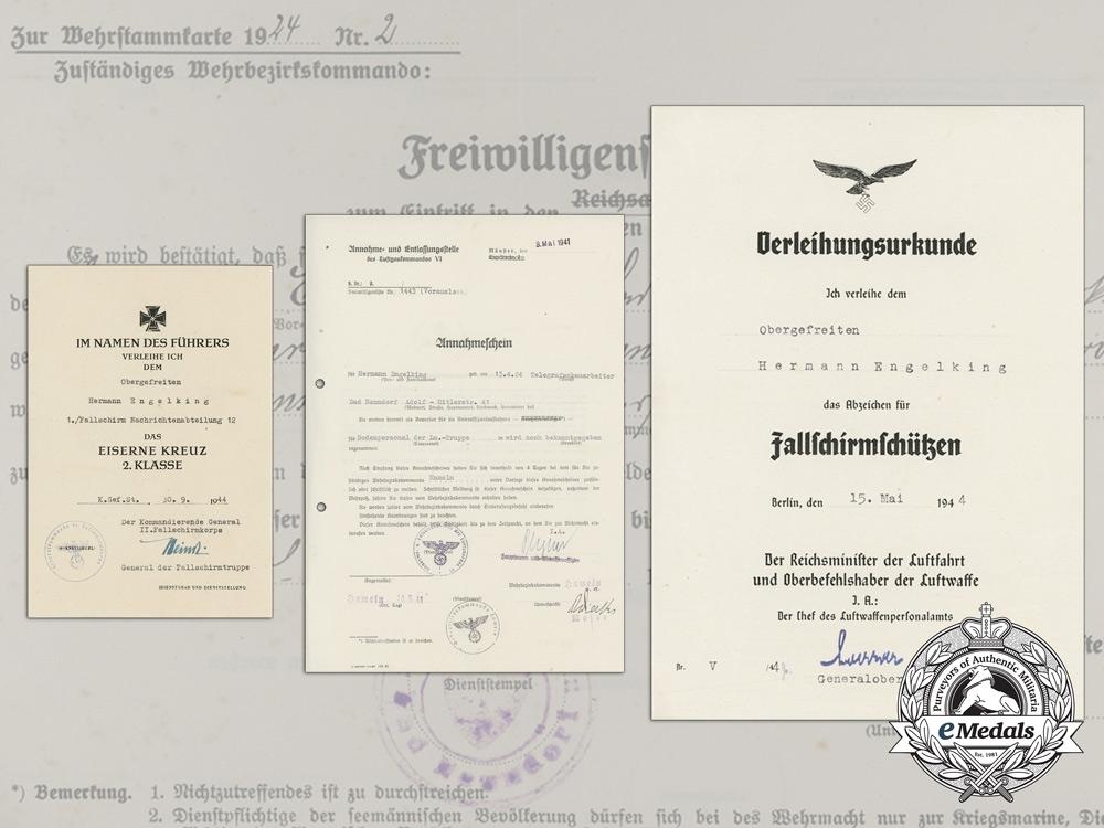 eMedals-A Very Fine Group of Award Documents to Fallschirmjäger & POW