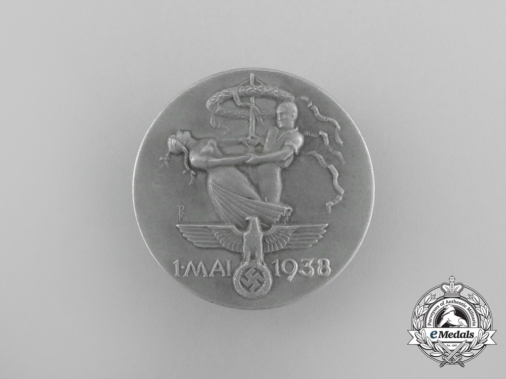 eMedals-A 1938 Day of Labour (May 1st) Badge  by Brehmer of Markneukirchen