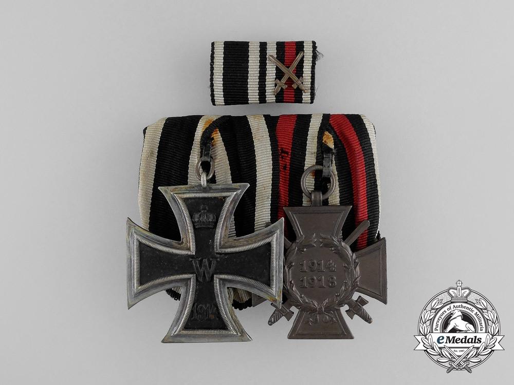 eMedals-Germany, Imperial. A EK 1914 II Class & Hindenburg Cross Medal Bar