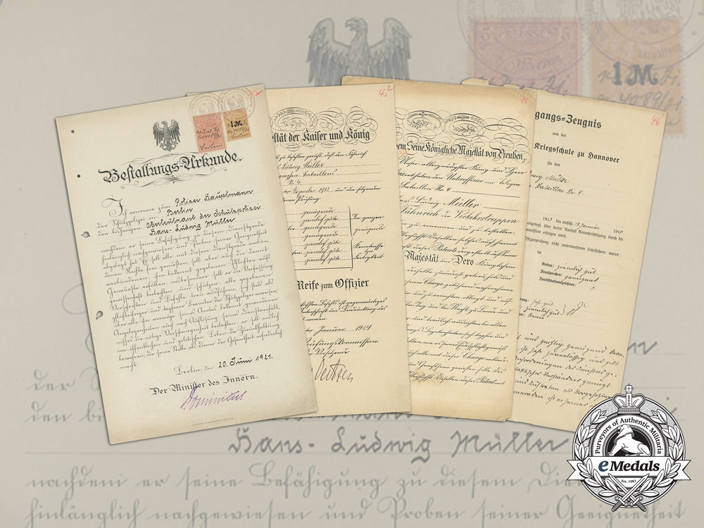 eMedals-Prussia, Imperial. A Group of Early Career Documents to Colonel Hans Ludwig Müller