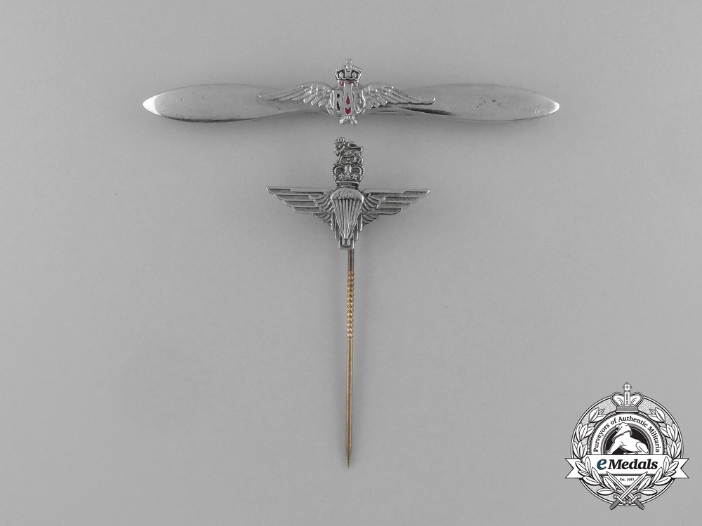 eMedals-Two British Badges; Parachute Regiment and Royal Air Force