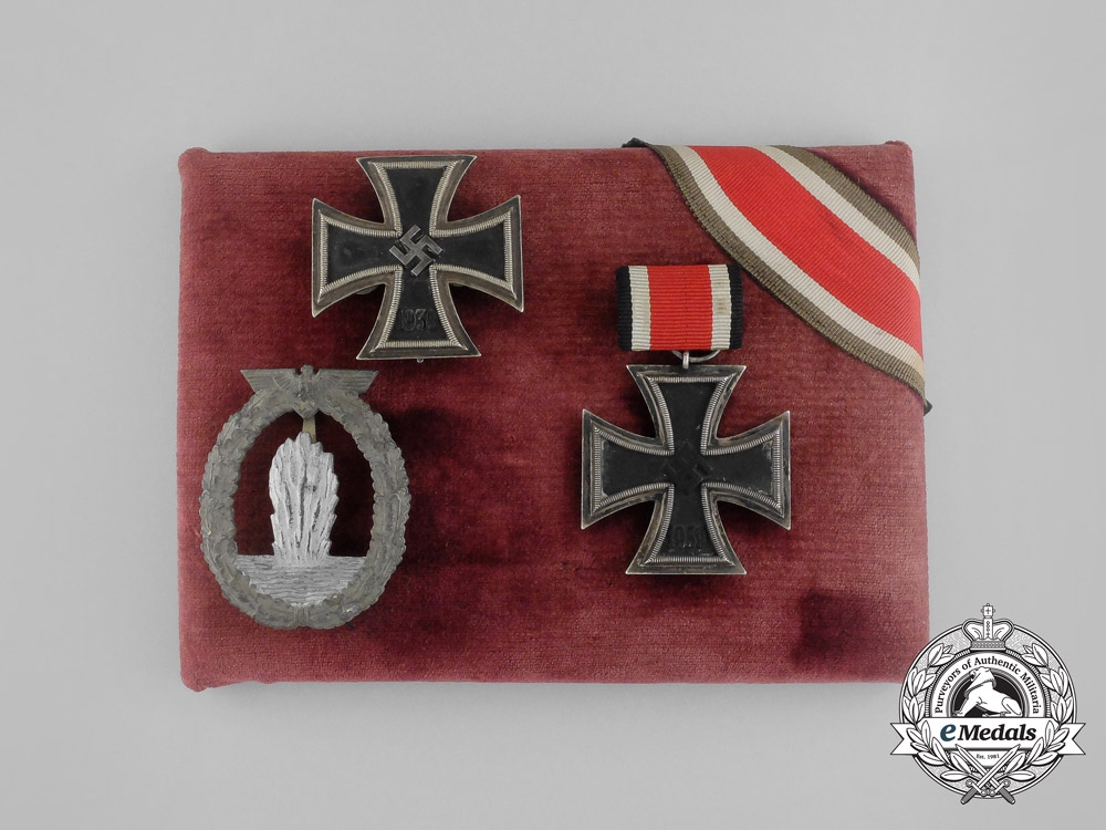 eMedals-A Iron Cross 1939 and Mine Sweeper Badge Grouping to Kriegsmarine Sailor Werner Groth