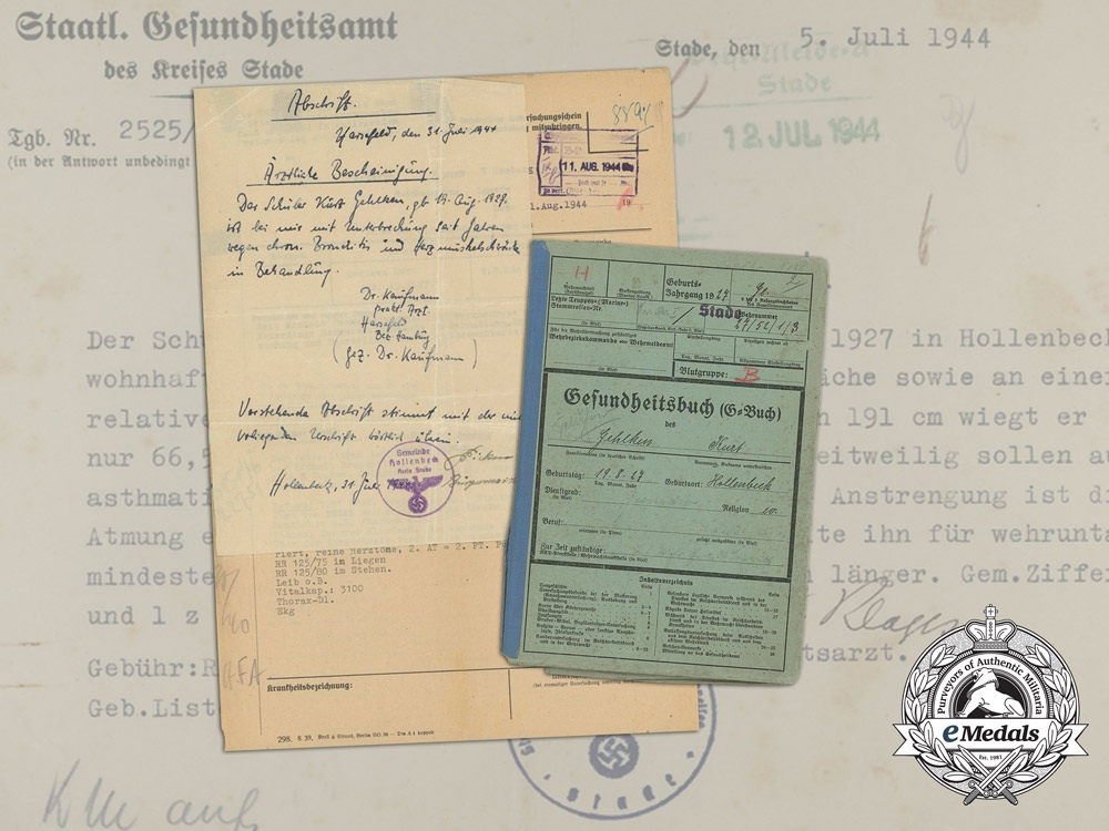 eMedals-1944 Medical Papers & Documents Wehrmacht Signals Battalion