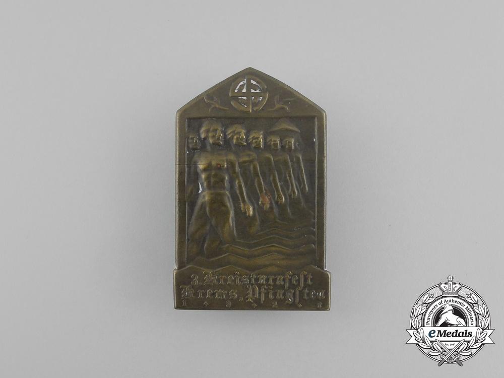 eMedals-Germany, Weimar Republic. A 1923 Krems 34rd District Gymnastics Festival Badge