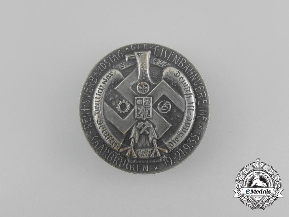 eMedals-Germany, Third Reich. A 1935 Saarbrücken National Day of Railway Associations Badge