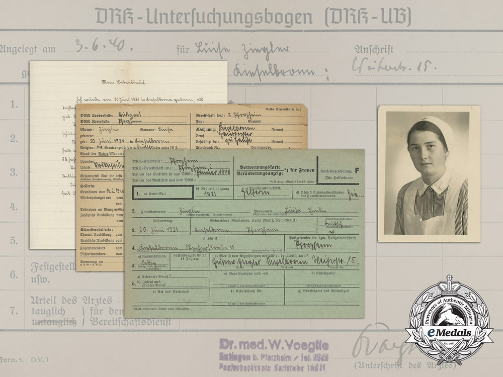 eMedals-A Group of German Red Cross Documents to Auxiliary Nurse Luise Ziegler