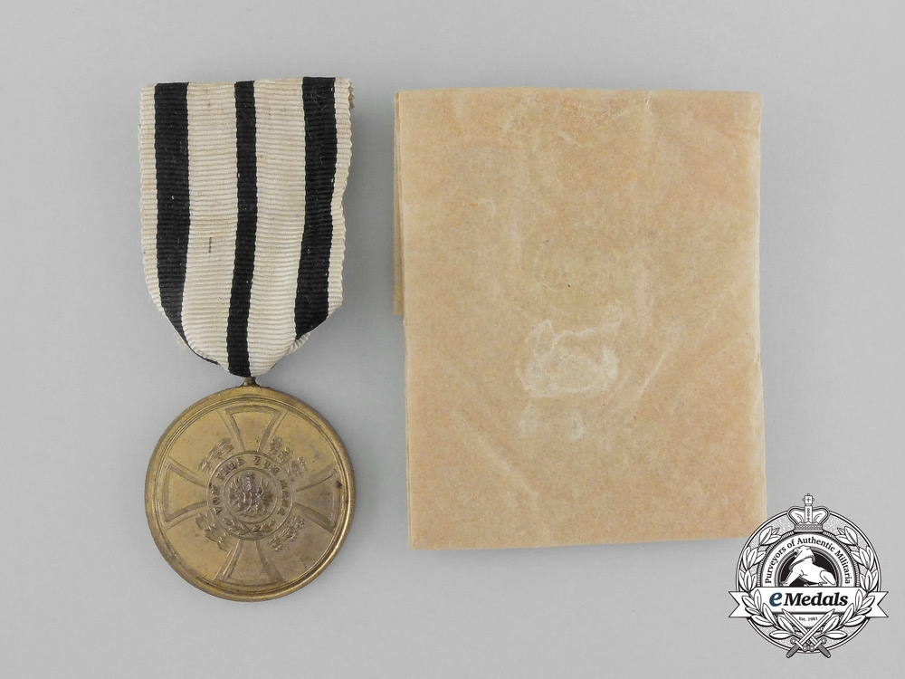 eMedals-A 1848-1849 Prussian Hohenzollern Campaign Medal with its Original Wrapping Paper