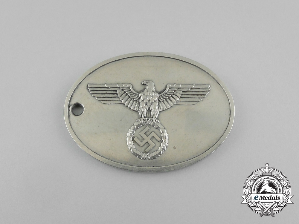 eMedals-A Mint and Unissued German Gestapo (Secret State Police) Identification Tag