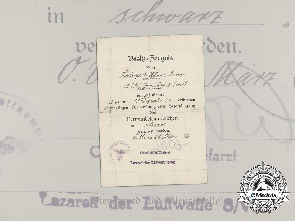 eMedals-Germany, Heer. A 1944 Wound Badge Award Document to Grenadier Regiment 15