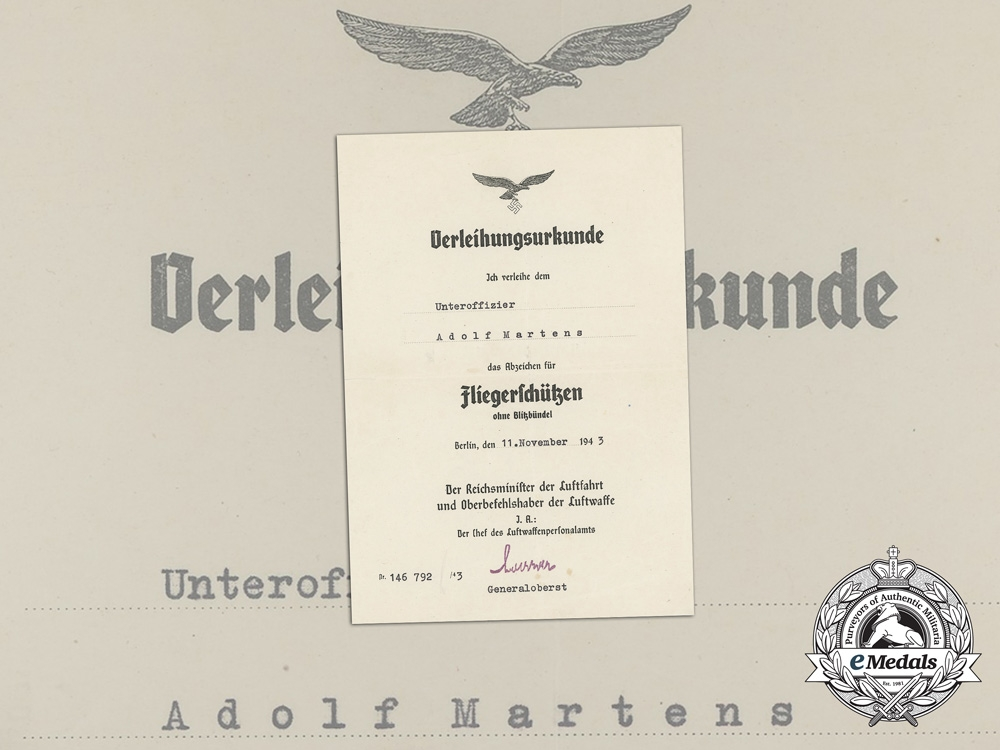 eMedals-Germany, Luftwaffe. Air Gunner Badge Without Lightning Bolts Document to Adolf Martens