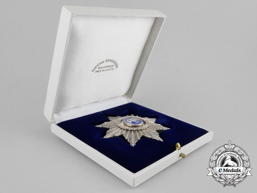 eMedals-Iceland. An Order of the Falcon, Commander's Star, c.1950