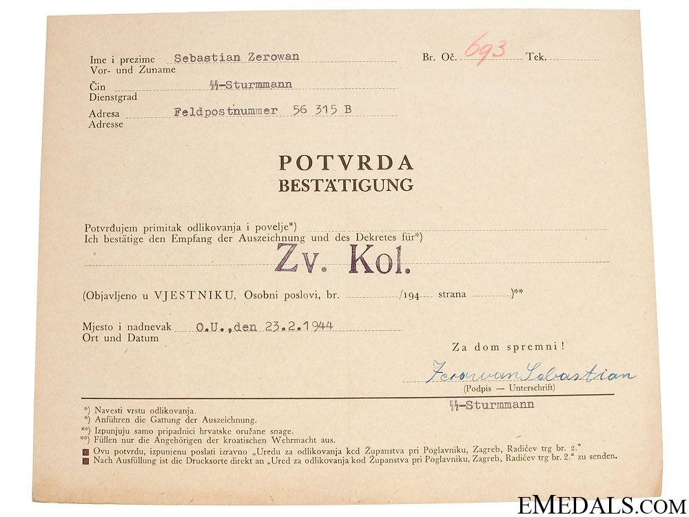 eMedals-Acknowledgment of the Croatian Award by SS-Sturmmann