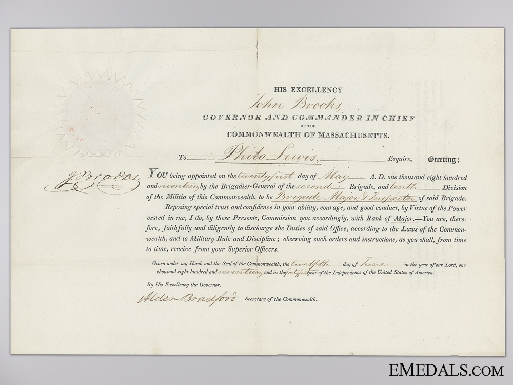 eMedals-An 1817 Massachusetts Militia Commission Document to Brigade Major Lewis
