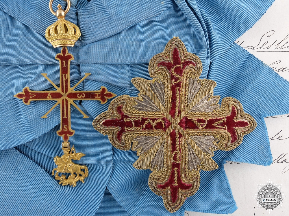 eMedals-An 1847 Duchy of Parma Order of Constantine of St.George with Document