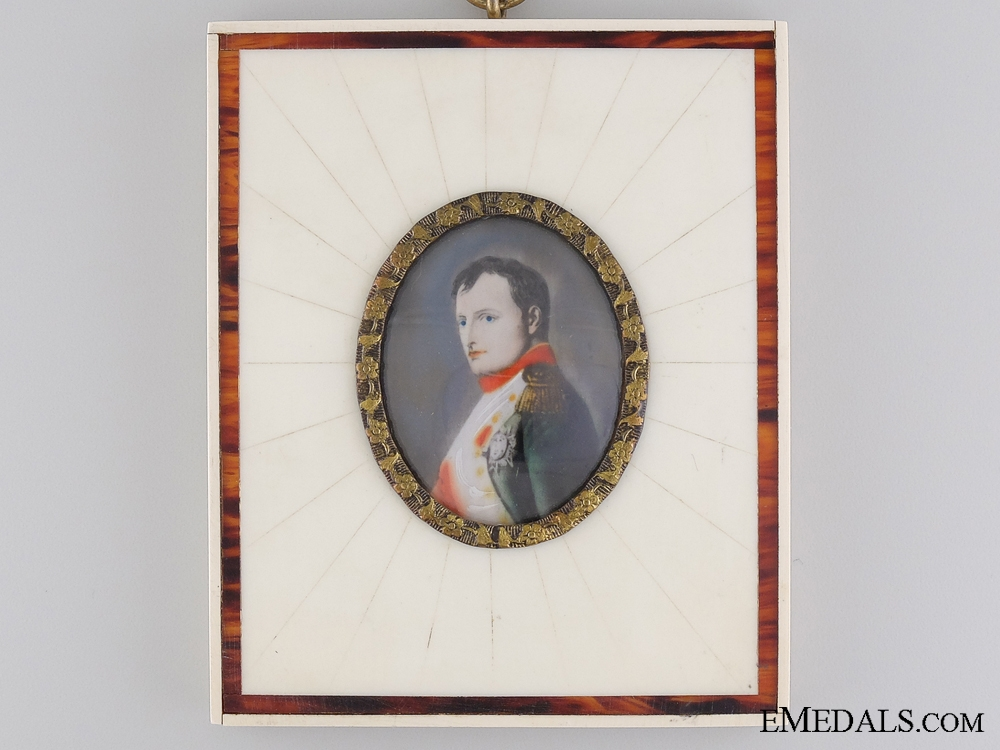eMedals-An 1860's Hand Painted Napoleon I Miniature Portrait