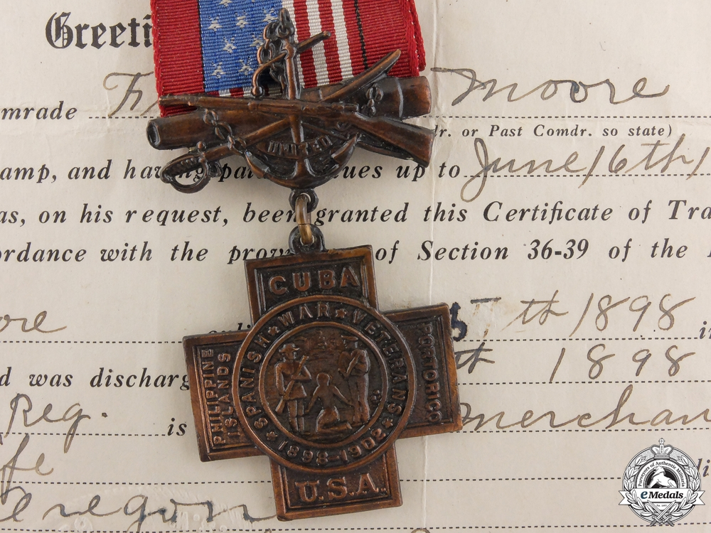 eMedals-An American Spanish War Veterans Award & Document