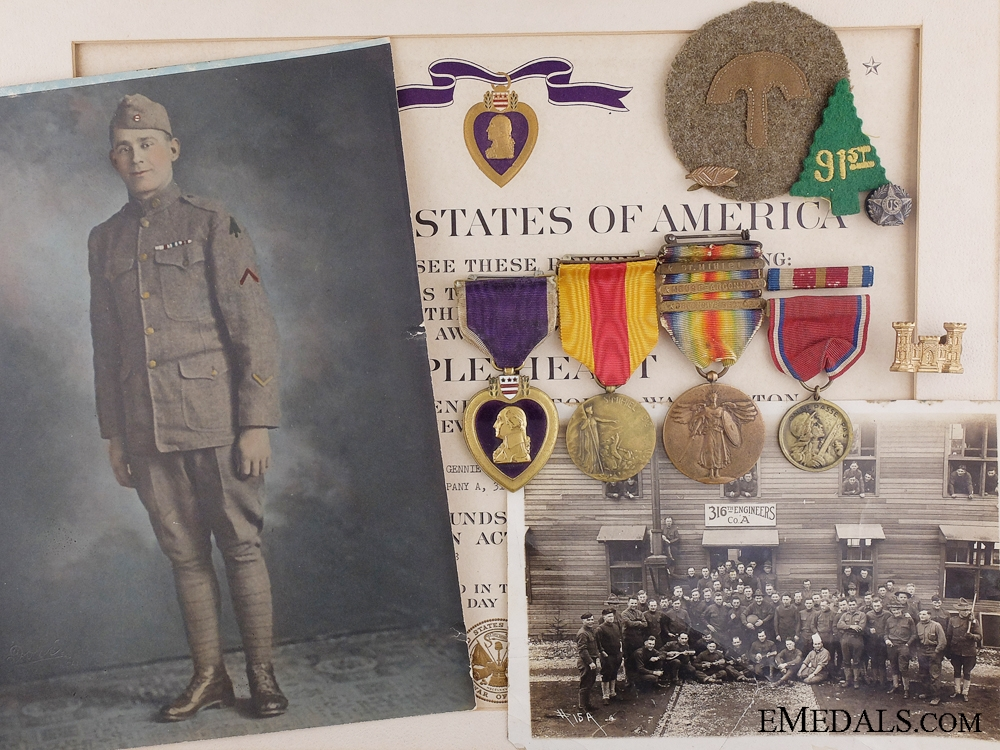 eMedals-An American WWII Purple Heart Group; Wounded in France