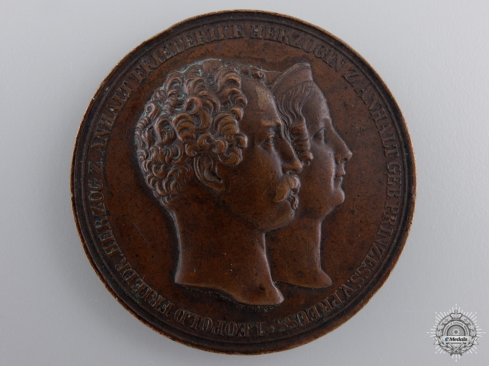 eMedals-An Anhalt 1818-1842 Leopold IV Frederick to Frederica Wilhelmina Marriage Medal