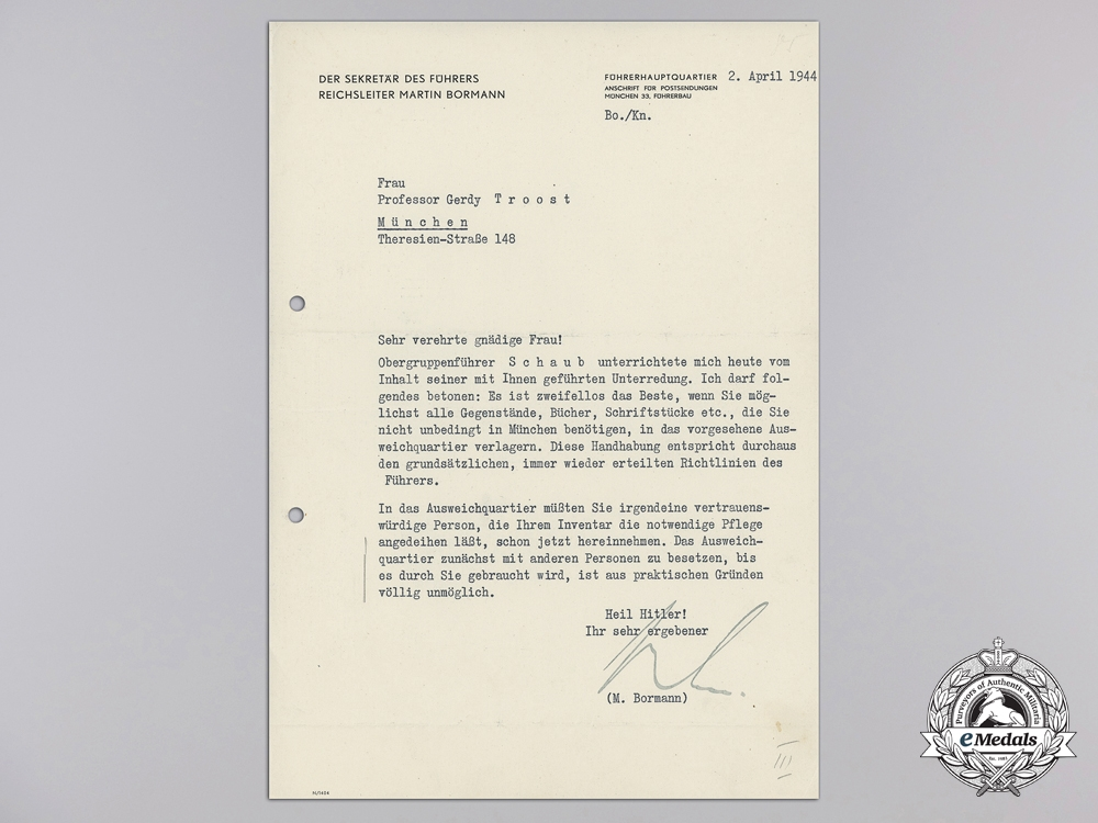 eMedals-An April 1944 Signed Letter from Martin Bormann