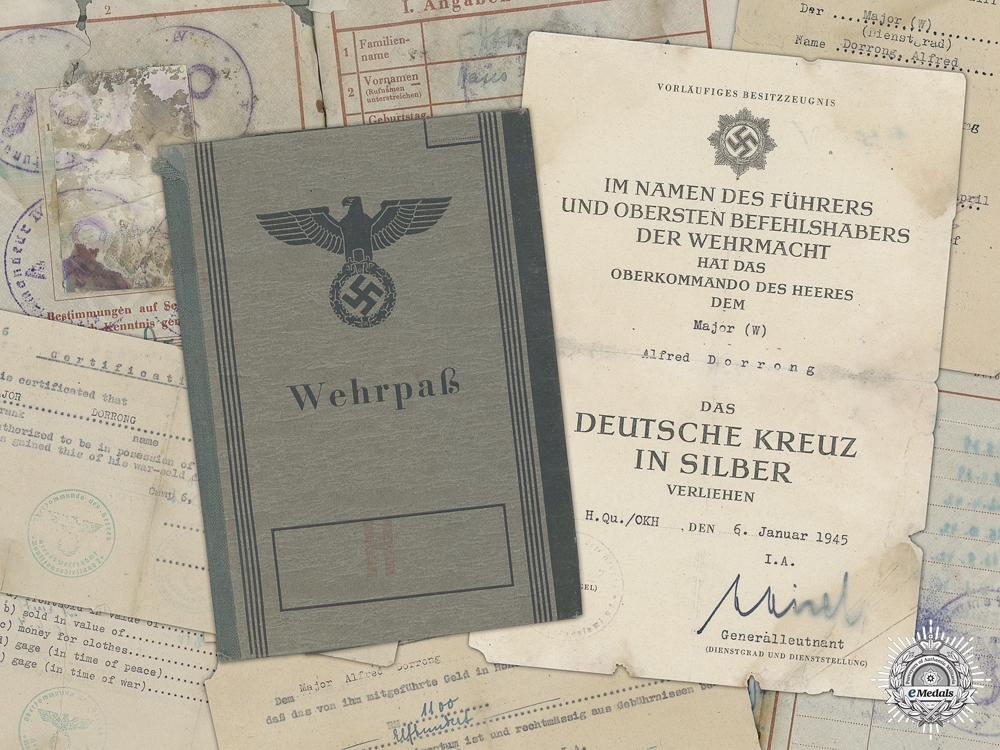 eMedals-Germany, Heer. A Collection Of Documents, Including German Cross In Silver Award Document, To Major Alfred Dorrong