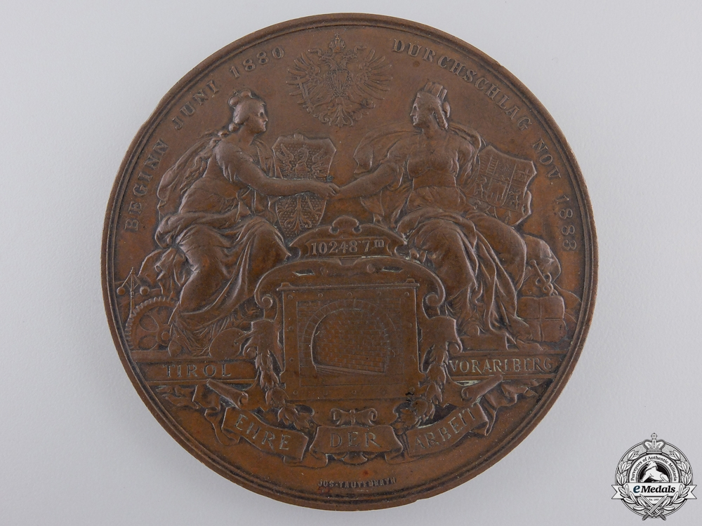 eMedals-An Austrian Arlberg Railway Tunnel Completion Medal 1883