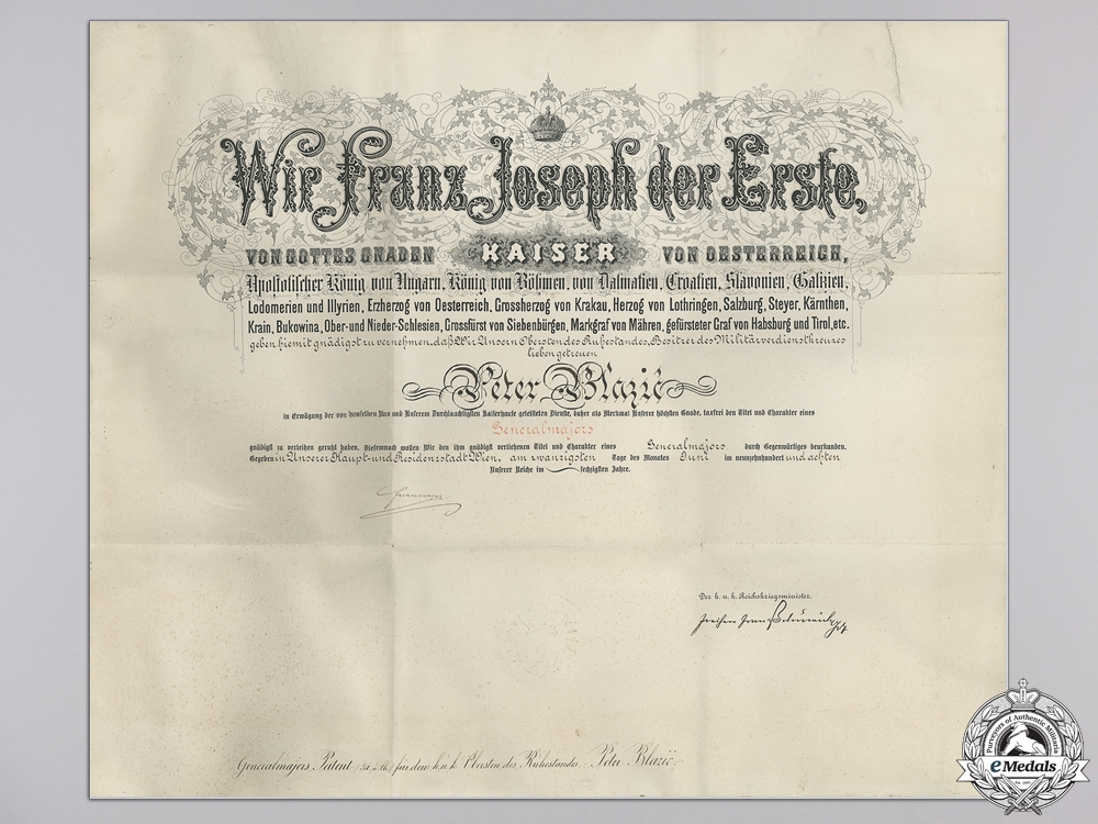 eMedals-An Austrian Commission Document to Major General Peter Blazic