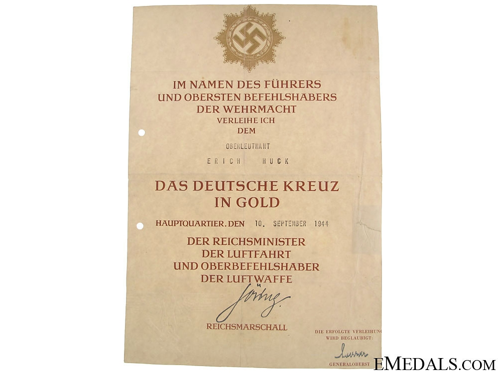 eMedals-An Award Document for a German Cross in Gold