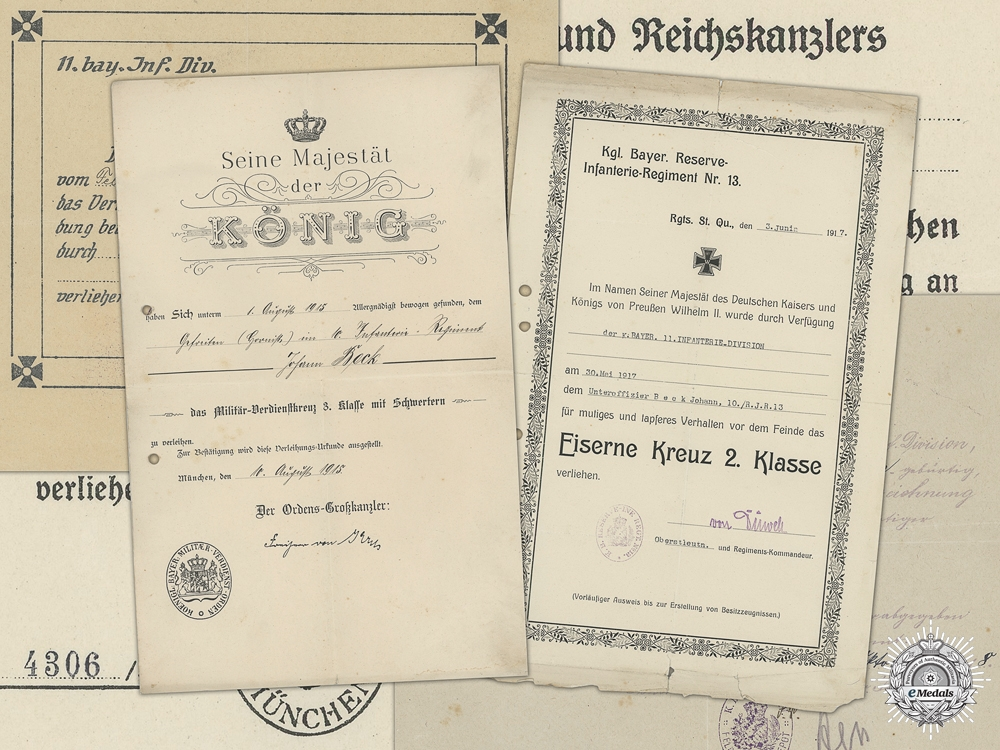 eMedals-An Document Group to 11th Royal Bavarian Regiment